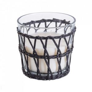 Lumanare parfumata cu suport negru/transparent din sticla 12 cm Camelia Unimasa