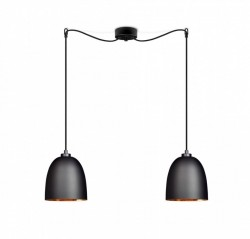 Lustra neagra din metal si sticla cu 2 becuri Awa Elementary Dos Copper Sotto Luce