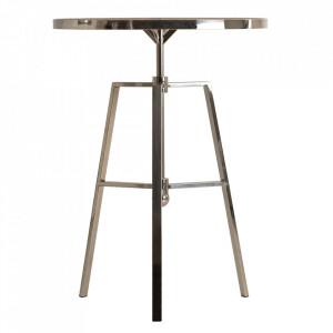 Masa bar maro/gri argintiu din lemn si otel 70 cm Fyn Vical Home