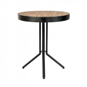Masa bar maro/neagra din lemn de tec si otel 75 cm Maze White Label