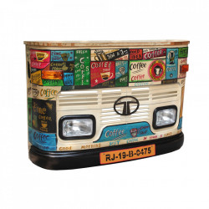 Masa bar multicolora din lemn si metal 43x160 cm Truck Sit Moebel