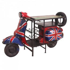 Masa bar multicolora din lemn si metal 66x170 cm British Flag Sit Moebel