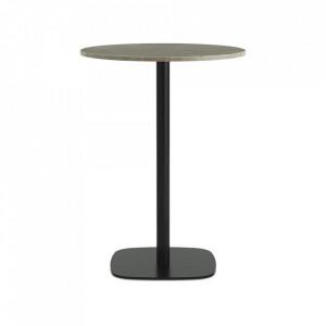 Masa bar neagra/bej nisipiu din marmura si otel 70 cm Form Normann Copenhagen