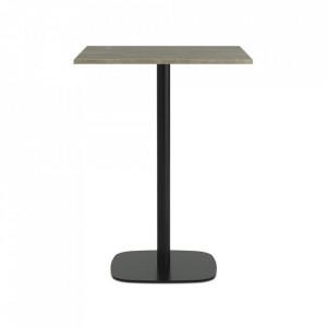 Masa bar neagra/bej nisipiu din marmura si otel 70x70 cm Form Normann Copenhagen