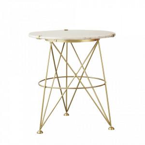 Masa cafea din metal auriu si marmura 55 cm Fleur Bloomingville