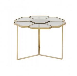 Masa cafea din metal auriu si sticla Flower S Nordal