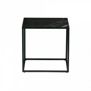 Masa cafea neagra din metal cu si portelan 45x45 cm Look Woood