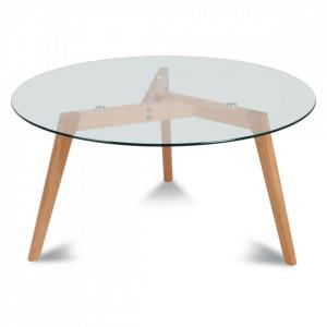 Masa cafea rotunda din lemn si sticla transparenta 80 cm Fiord Opjet Paris