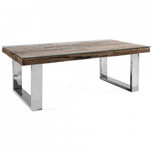 Masa de cafea maro/argintie din lemn si inox 60x110 cm Stanton Bizzotto