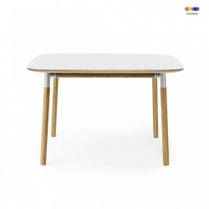 Masa dining alba din linoleum si lemn de stejar 120x120 cm Form Normann Copenhagen