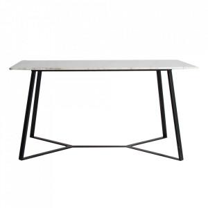 Masa dining alba/neagra din marmura si fier 90x160 cm Sassa Vical Home