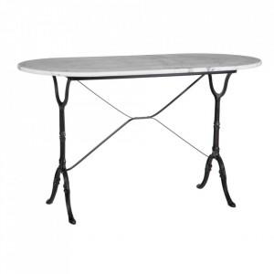Masa dining alba/neagra din marmura si metal 60x120 cm Lobos Ixia