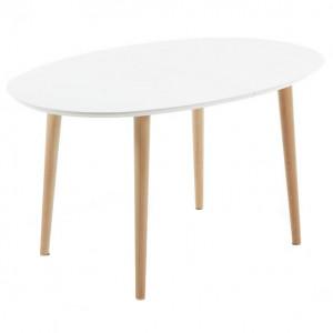 Masa dining extensibila alba/maro din MDF si lemn 90x140(220) cm Oqui Kave Home