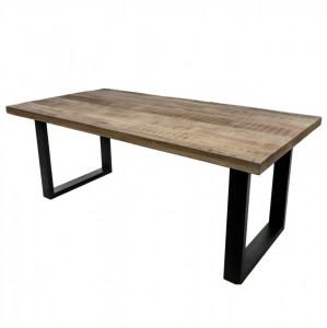 Masa dining maro/neagra din lemn de mango si fier 100x200 cm Melbourne HSM Collection