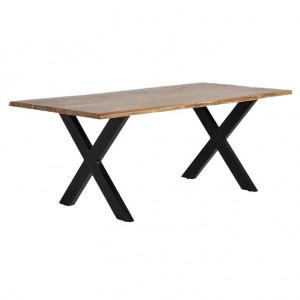 Masa dining maro/neagra din lemn de salcam si metal 100x240 cm Grace Giner y Colomer