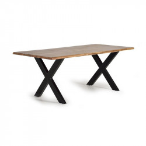 Masa dining maro/neagra din lemn de salcam si metal 90x180 cm Grace Giner y Colomer