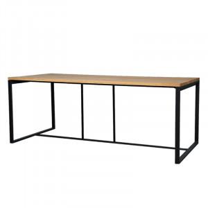 Masa dining maro/neagra din lemn de stejar si fier 90x200 cm Hasselt Lifestyle Home Collection