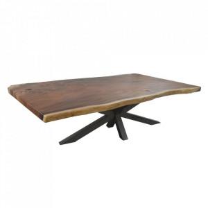 Masa dining maro/neagra din lemn de suar si fier 100x260 cm Upper Denzzo