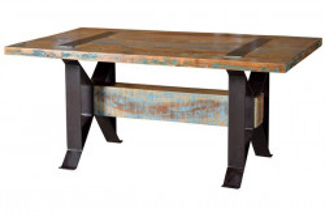Masa dining multicolora din lemn reciclat si fier 100x200 cm Fridge Giner y Colomer