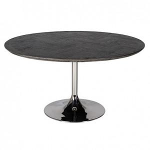 Masa dining neagra/argintie din lemn si inox 140 cm Blackbone Richmond Interiors