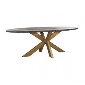 Masa dining neagra/maro alama din lemn de stejar si inox 100x230 cm Blackbone Richmond Interiors