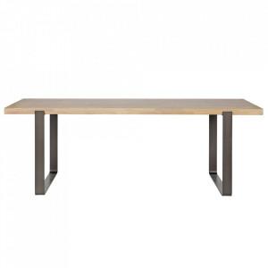 Masa dining neagra/maro din lemn de stejar si metal 90x180 cm Jamie Woood