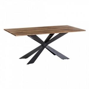 Masa dining neagra/maro din lemn si metal 93x180 cm Nove Ixia