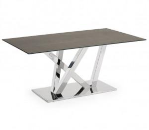 Masa dining verde/argintie din otel si portelan  100x180 cm Uve La Forma