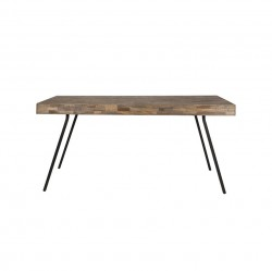 Masa maro/neagra din lemn tec reciclat si metal 90x180 cm Suri White Label