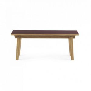 Masa maro/rosu burgund din lemn si linoleum 42x100 cm pentru cafea Slice Normann Copenhagen