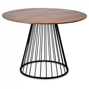 Masa rotunda din metal negru si MDF nuc 110 cm Romane Opjet Paris