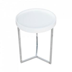 Masuta alba/argintie din lemn si metal pentru cafea 40 cm Modular Invicta Interior