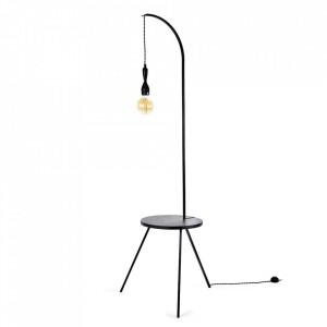 Masuta cu lampadar neagra din lemn si metal 50 cm Creo Serax