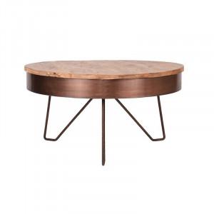 Masuta de cafea maro/aramie din lemn si metal 80 cm Saran LABEL51