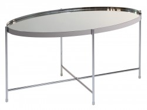 Masuta din fier si sticla 45x80 cm Lira Oval Silver Santiago Pons