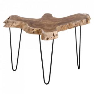 Masuta maro/neagra din lemn de tec si fier 50x50 cm Ingrid Ixia
