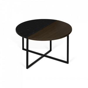 Masuta maro/neagra din lemn si marmura 80 cm Sonata TemaHome