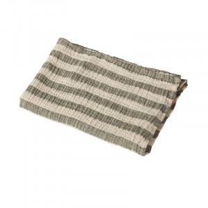 Muselina crem/verde kaki din bumbac Stripes Quax