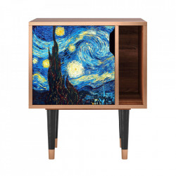 Noptiera multicolora din MDF si lemn The Starry Night By Vincent Van Gogh Furny