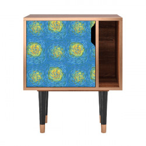 Noptiera multicolora din MDF si lemn Van Gogh Lights Furny