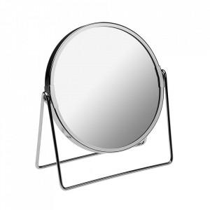 Oglinda cosmetica rotunda argintie din metal 18x20 cm Ines Versa Home
