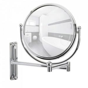 Oglinda cosmetica rotunda argintie din metal 28x33 cm Deluxe Wenko