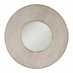Oglinda crem/aurie rotunda din lemn si metal 91 cm Arteg Denzzo