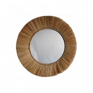 Oglinda rotunda maro din fibre naturale 62 cm Natural Village Opjet Paris