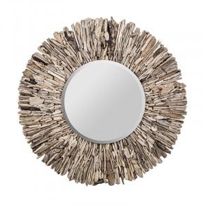 Oglinda rotunda maro din lemn 120 cm Vera Vical Home