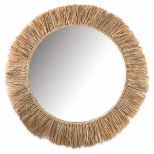 Oglinda rotunda maro din rafie 84 cm Sahara Objet Paris