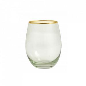 Pahar transparent/auriu din sticla 7x12 cm Greena Nordal