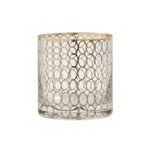Pahar transparent/auriu din sticla 9x10 cm Circle Nordal