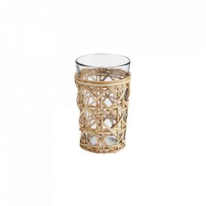 Pahar transparent/maro din sticla si bambus 8x11 cm Lara Madam Stoltz