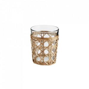 Pahar transparent/maro din sticla si bambus 9x12 cm Yarvin Madam Stoltz